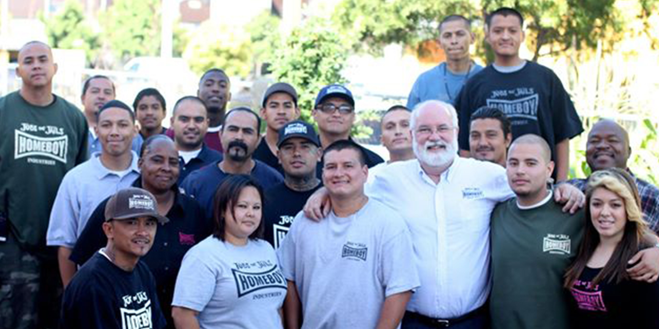 Father Greg Boyle with Group from HomeBoy Industries
